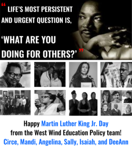 MLK quotation and nine pics of racial equity activists.
